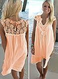 YELINGYUE Chiffon Frauen Sommer Ärmelloses Kleid Dame Aushöhlen Weiße Tunika Spitze Strand Kleid, Orange, S