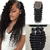 "Full Shine (14""16""18""+10"" Lace Closure 4*4) Free Part Avec Cheveux Bebe Naturel Hairline 3 Pieces/Lot Bresilien Deep Wave Vierges Tissage Cheveux Naturels Non Traites Tissage Bresilien Glamour Extension"