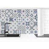 Bilderwelten Revestimiento Pared Cocina - Blue Ceramic Tiles Agadir 100 x 50 cm Smart