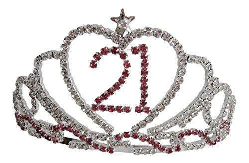 mit 21. Geburtstag Tiara/21Tiara pink Geburtstag Love Herz Krone 21Geschenk für 21. (21st Geburtstag Zubehör)