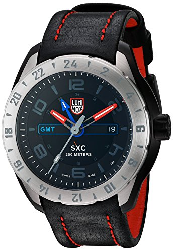 Luminox Men's 'SXC GMT' Swiss Quartz Stainless Steel and Leather Aviator Watch, Color:Black (Model: 5127)