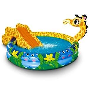 Pataugeoire piscine enfant + toboggan girafe 152 x 25 cm