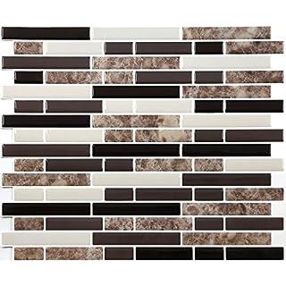 4-er Packung 3D Gel Mosaic Effekt Aufkleber. Selbstklebend und im braun,weiß & schwarz. 28 cm x 24 cm Selbstklebendes Vinyl-Mosaik (3D0004)