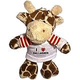 Plüsch Giraffe Schlüsselhalter mit T-shirt mit Aufschrift Ich liebe Gallagher (Vorname/Zuname/Spitzname)
