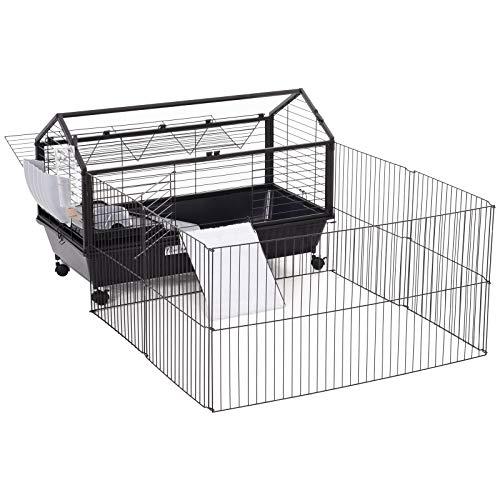Pawhut Nagerkäfig Hasenkäfig Meerschweinkäfig Kleintier mit Garten Balkon Metall 88 x 130 x 56 cm
