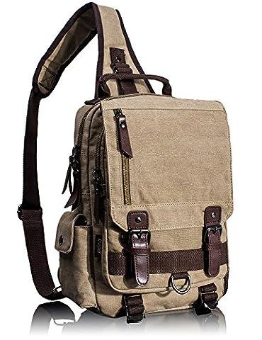 Leaper Men's Retro Casual Canvas Multifunction Laptop Messenger Cross Body Shoulder Bag Medium