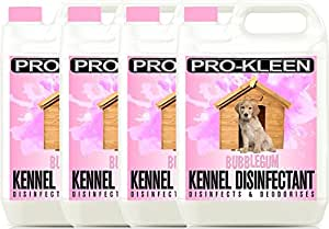 4 x 5 Litres Pro-Kleen Bubblegum Dog Kennel Disinfectant + Deodoriser
