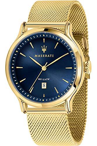 Maserati epoca Montre Homme Analogique Quartz avec Bracelet Acier Inoxydable plaqué Or R8853118014
