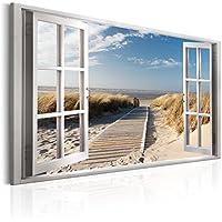 murando - Bilder Fensterblick 120x80 cm - Leinwandbild - 1 TLG - Kunstdruck - modern - Wandbilder XXL - Wanddekoration - Design - Wand Bild - Fenster Insel Meer See Strand Himmel c-C-0179-b-a