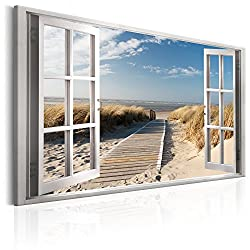 murando - Bilder Fensterblick 120x80 cm Vlies Leinwandbild 1 TLG Kunstdruck modern Wandbilder XXL Wanddekoration Design Wand Bild - Fenster Insel Meer See Strand Himmel c-C-0179-b-a