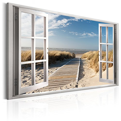 murando - Bilder Fensterblick 120x80 cm - Leinwandbild - 1 Teilig - Kunstdruck - modern - Wandbilder XXL - Wanddekoration - Design - Wand Bild - Fenster Insel Meer See Strand Himmel c-C-0179-b-a
