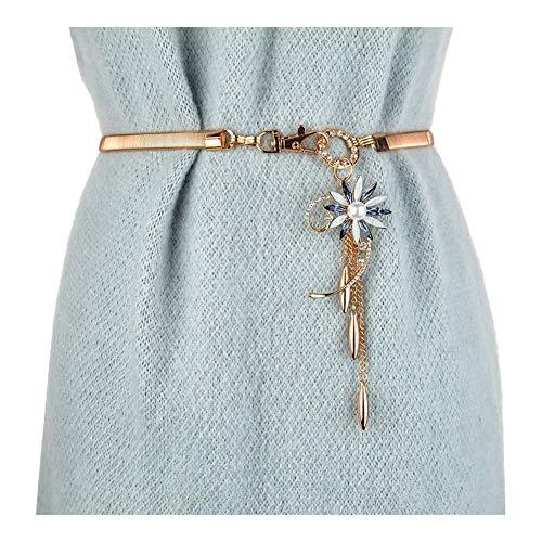 Matilda530 Perlen-Gänseblümchen-elastische Taillen-Kette Frauen Mode-Kleid-Gurt Metallic Stretch Bauchkette (Farbe : Blau, Size : 62cm) -