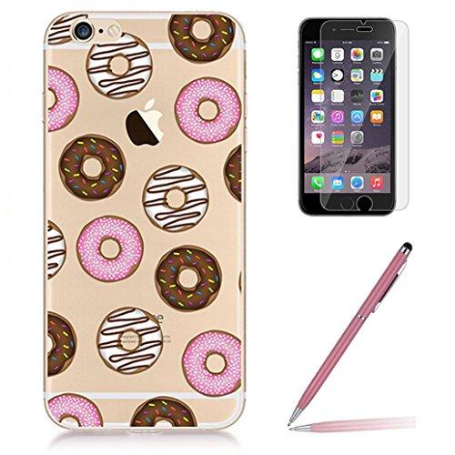 Custodia iPhone 6/6s [Pellicola Protettiva in Vetro Temperato], Yoowei® Design Colorato Cristallo Trasparente Ultra Sottile Morbido TPU Gel Case Cover per iPhone 6/6s 4.7 (UFO) Donuts