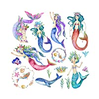 Asien Cartoon Mermaid Wall Sticker Creative Wall Decal Kids Room Living Room Removable Mermaid Wall Paper
