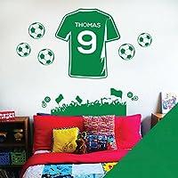 Nombre personalizado Niños Pared Arte Adhesivo – Ventilador de fútbol  camiseta de fútbol tema – personalizar 8ddf99b124d5d