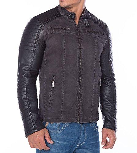*Red Bridge Jacke Herren Biker Kunstleder Lederjacke Redbridge Jacket mit gesteppten Bereichen (XXL, Grau)*