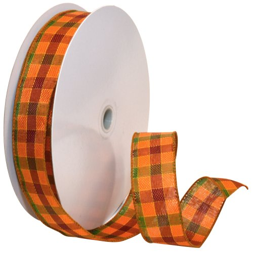 Morex Band Herbst Plaid Draht Plaid Stoff Band, 1-1/2 Zoll von 50-Yard Spule, orange -