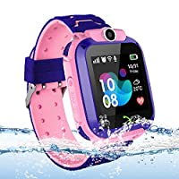 Kids GPS Tracker Smart Watch Waterproof, Vannico Touch Screen Smart Watches for Girls Boys, SOS Anti-Lost Sim Card Smartwatch with Camera, Game for Children Gift (Pink)
