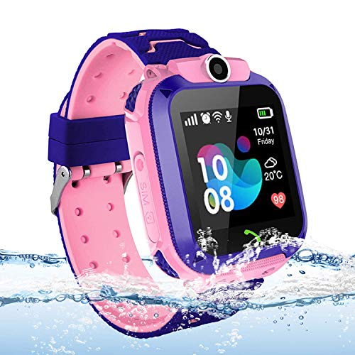 Kids Tracker Smart Watch Waterproof, Vannico Touch Screen Mobile Smart Watches for Girls Boys, SOS Anti-Lost Sim Card Smartwatch with Camera, Game for Children Gift (Pink)