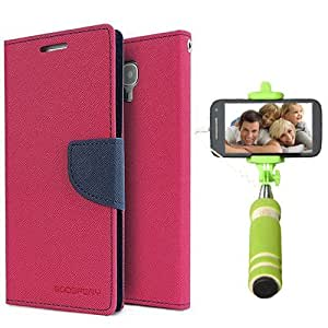 Aart Fancy Diary Card Wallet Flip Case Back Cover For Apple I phone 6 - (Pink) + Mini Aux Wired Fashionable Selfie Stick Compatible for all Mobiles Phones By Aart Store