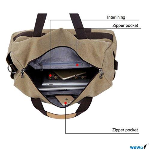 Wewod Große Kapazität Wochenende Seesack Turnhalle Messenger Tasche Canvas Material (Khaki) Khaki