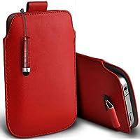 Rosso Shelfone–in pelle Pull Tab Custodia protettiva cover per Blackberry Curve 8310(L) con Stilo Penna