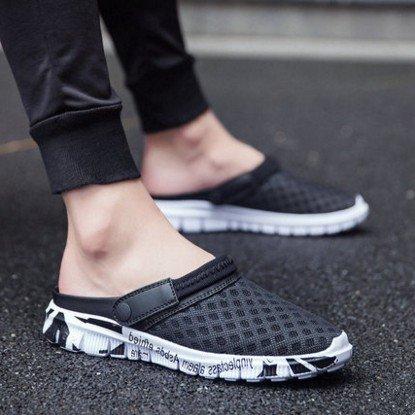 Chaussures hommes sandales pantoufles sandales d'été en plein air semi personnalité Crocs beach de code Baotou 930-1 black gold