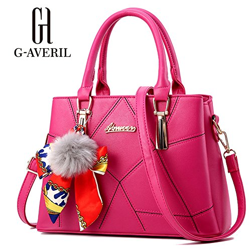 (G-AVERIL) Borsa a mano Donna Borsa Shopping PU pelle rosa rossa
