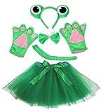 Petitebelle Diadema Bowtie Guantes de cola Tutu niña Disfraz de 5 piezas Un tamaño Rana verde linda
