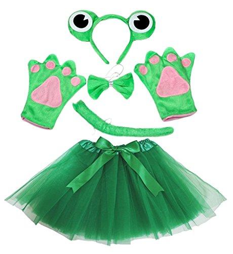 Petitebelle Stirnband Bowtie Schwanz Handschuhe Tutu 5pc Mädchen-Kostüm Einheitsgröße Grün Netter Frosch (Frosch-kostüme Mädchen Für)