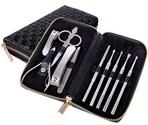 Nagelknipser Reise Set, 10-teiliges Edelstahl Professionelle Nagelknipser Maniküre-Pediküre Nagelpflege Set Mit (Schwarz)