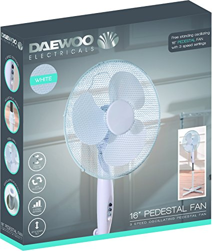 "Daewoo 16"" Electric Oscillating Floor Standing Pedestal Air Cooling Fan (White)"