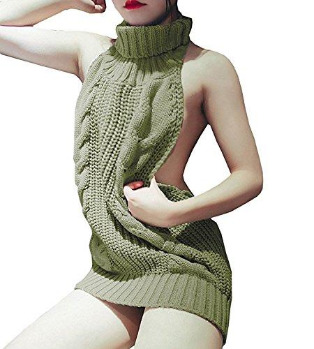365-Shopping Japan-Stil Damen Cosplay Sweater Pullover Jumpsuit Turtleneck Strickpullover Backless