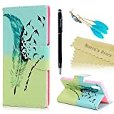 Mavis's Diary Xperia XZ Case ,Sony Xperia XZ Case - Wallet Flip Case PU Leather Bumper Cover with Soft Rubber Gel Back Holder Magnetic Closure Stand Function Card Slots Stylish Prints Protective Cover -with Dust Plug & Stylus - Flying Feather