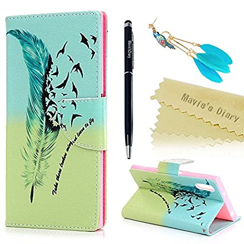 Mavis's Diary Xperia XZ Case ,Sony Xperia XZ Case - Wallet Flip Case PU Leather Bumper Cover with Soft Rubber Gel Back Holder Magnetic Closure Stand Function Card Slots Stylish Prints Protective Cover -with Dust Plug & Stylus - Flying