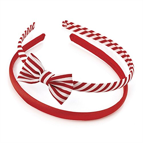 2 Pack Plain & Stripe Bow Alicebands Head Hair Bands in Red and White