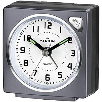 con luce e funzione Snooze A240/ /19 ATRIUM sveglia analogica Argento Senza Ticchettio