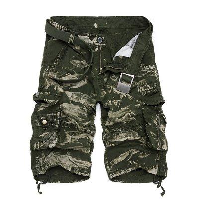 WDDGPZDK Strand Shorts/Camouflage Camo Cargo Shorts Men Mens Casual Shorts Männlichen Löst Man Military Hosen Kurze Hosen Übergrößen 29-44,03 Green Camo, 36