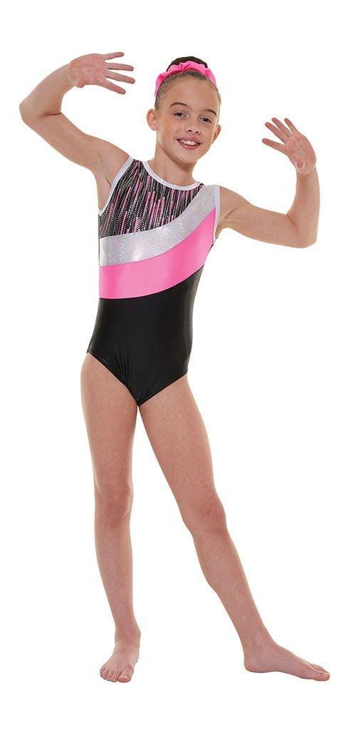 Tappers & Pointers Gym 43 - Body da ginnastica in lycra, con strisce di nylon riflettenti e lustrin