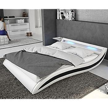 delife bett adonia weiss schwarz 140x200 cm mit led. Black Bedroom Furniture Sets. Home Design Ideas