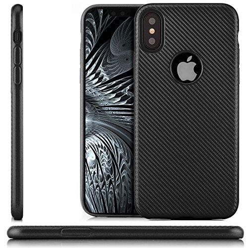 zanasta® iPhone X Hülle Premium Schutzhülle Soft Flex Silikon Carbon Case TPU Slim Cover Handyhülle | Metallic Silber Schwarz