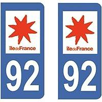 Paire Sticker immatriculation 92 - Haut de seine