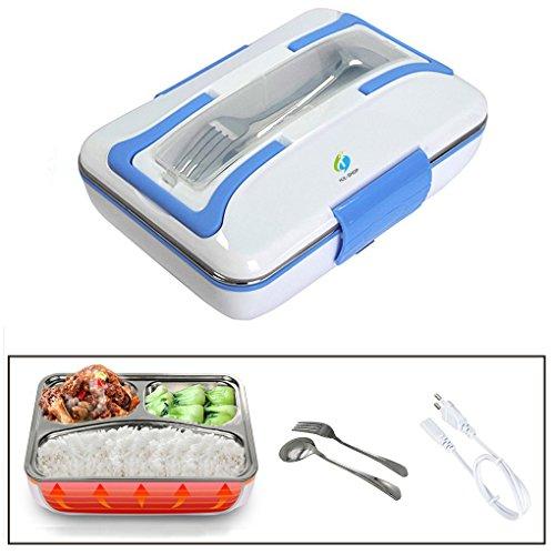 Boite à lunch électrique chauffante Lunchbox Gamelle Électrique pour bureau et masion utilisant 3 compartiments Portable amovible boîte à déjeuner électrique Récipient en acier inoxydable
