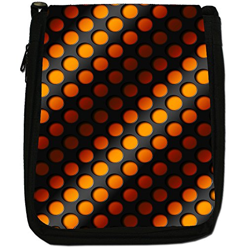 Design Arte astratta 3D, colore: nero, Borsa a spalla in tela da uomo, taglia media Orange Abstract 3D Wave