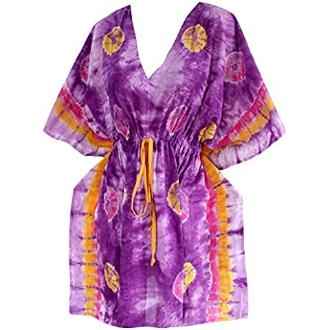 La Leela traje de baño de las mujeres del vestido de algodón teñido anudado de ropa de playa robe caftán v cuello encubrir traje de baño de manga corta, más boho