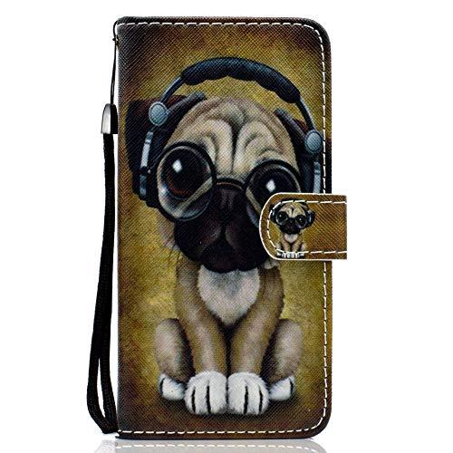Coopay Extra Dünn Handytasche,Kunstleder Klappbar Ledertasche Etui Case Cover,Ständer Karteneinschub Magnetverschluss Brieftasche,für Huawei P10 Lite Hülle,Gelb Tier Hund Brille + Schlüsselband