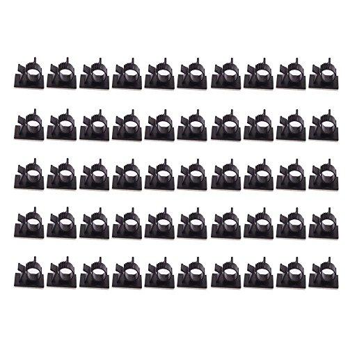 Teenitor 50 Stück Kabel Tidy Clips & Wire Clips Hochwertige Self-Adhesive Einstellbare Auto Kabel Organizer Desktop Wand Kabel Draht Clips Klemmen Computer Elektrische Kabel Kabel Tie Drop Black Computer Sauber Wischen