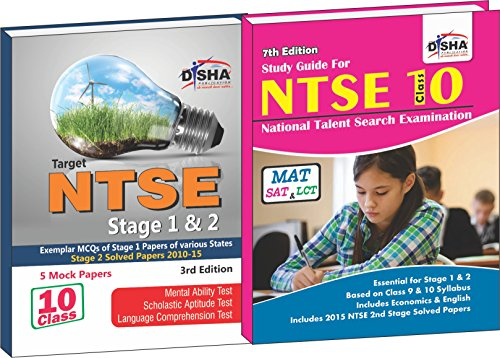 NTSE Simplified for Stage 1 & 2 - Guide + Past Papers + Mock Tests - SAT/ MAT/ ELT (Set of 2 Books)
