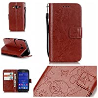 Samsung Galaxy Core Prime SM-G360F Case [Free USB Charging Cable],ESSTORE-EU Premium PU Leather Wallet Case with Card Slots and Cash Compartment Case for Samsung Galaxy Core Prime SM-G360F,Brown