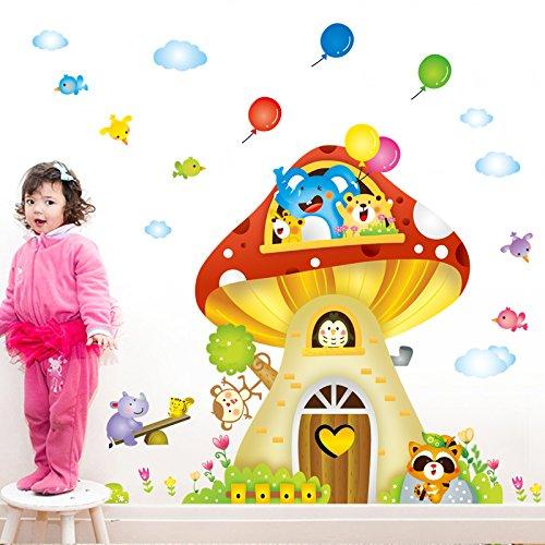 Yirenfeng Animation Cartoon Baum Dach Wandmalerei Kinderzimmer Malerei Wohnzimmer Hintergrund Wand Abnehmbare Aufkleber, B